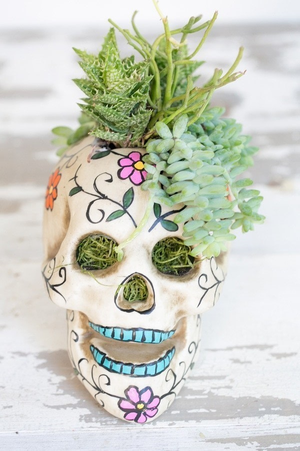 Easy Halloween Skull Centerpiece · How To Make A Vase, Pot ...