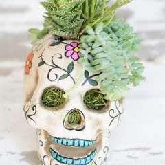 Easy Halloween Skull Centerpiece