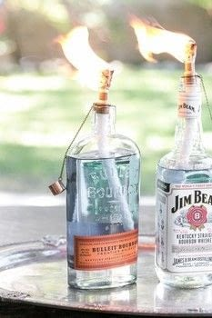 DIY TIki Torch Bottles .  Free tutorial with pictures on how to make a lantern in under 20 minutes by  with matches, torch, and bottles. How To posted by Eden  P.  in the Decorating section Difficulty: Easy. Cost: Cheap. Steps: 4