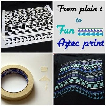 Masking tape Aztec print. .  Free tutorial with pictures on how to embellish a t-shirt in under 120 minutes by stencilling with shirt, masking tape, and paintbrush. Inspired by acrylic paint and aztec. How To posted by Gaby R.  in the Decorating section Difficulty: Simple. Cost: Absolutley free. Steps: 2