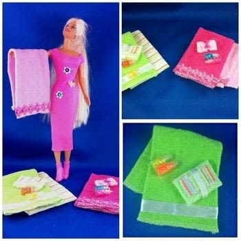 Fashionable Towel Set Made With Baby Face Clothes .  Sew a piece of doll clothing in under 20 minutes by not sewing with clothes, ribbons, and glue. Creation posted by Starr D.  in the Other section Difficulty: Simple. Cost: Absolutley free.