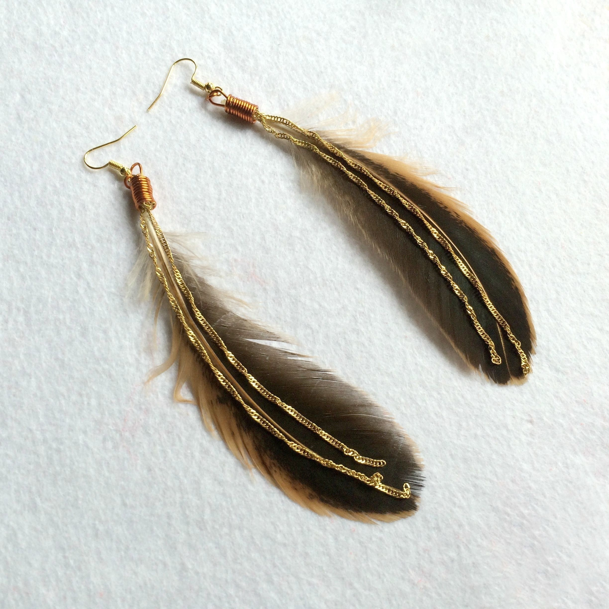 Elegant Feather And Chain Ear Hooks · How To Make A Feather ...
