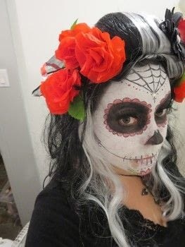 Super fun halloween costume! ^_^ .  Make a costume by sewing, hand sewing, and machine sewing with fake flowers, wig, and clothes. Inspired by halloween, costumes & cosplay, and skulls & skeletons. Creation posted by Nancy!.  in the Sewing section Difficulty: Simple. Cost: Cheap.