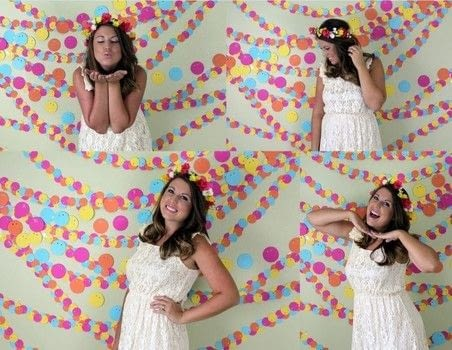 Create your own photo booth backdrop by creating a no sew paper garland. .  Free tutorial with pictures on how to make a hanging garland in under 180 minutes by papercrafting with scrapbook paper, hole punch, and tape. How To posted by Elizabeth R.  in the Home + DIY section Difficulty: Easy. Cost: Absolutley free. Steps: 7