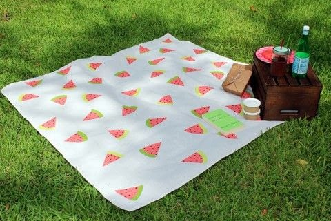 Paint your own watermelon picnic blanket using a drop cloth from your local hardware store. .  Free tutorial with pictures on how to make a quilted blanket in under 30 minutes by decorating with drop cloth, coral, and paint. Inspired by melon. How To posted by Elizabeth R.  in the Home + DIY section Difficulty: Easy. Cost: Cheap. Steps: 11