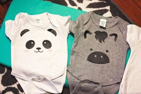 Create adorable animal faces on onesies using your Silhouette - brought to you by Britt at www.diyjustcuz.com .  Free tutorial with pictures on how to sew a baby onesie in under 60 minutes by transfering with silhouette cutting machine, vinyl, and onesie. Inspired by babies, kids, and animals. How To posted by DIY Just Cuz Team.  in the Other section Difficulty: Easy. Cost: Cheap. Steps: 3