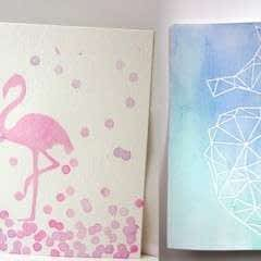 DIY Watercolor Art with a Contact Paper Stencil!