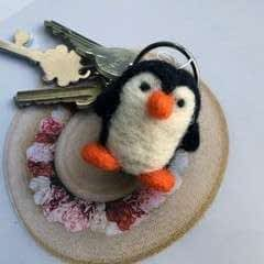 Needle Felted Penguin Charm