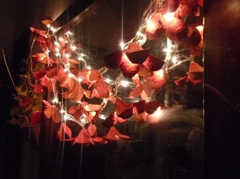 Fairy lights with floral blend .  Free tutorial with pictures on how to make fairy lights in under 180 minutes by creating, spraypainting, and papercrafting with scissors. How To posted by Hira osman.  in the Home + DIY section Difficulty: 3/5. Cost: Cheap. Steps: 7