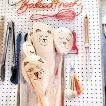 Give your kitchen utensils an adorable animal makeover! .  Free tutorial with pictures on how to make a kitchen utensil in under 20 minutes by decorating and woodworking with kitchen utensils, paint, and masking tape. How To posted by Cat Morley.  in the Home + DIY section Difficulty: Simple. Cost: Cheap. Steps: 8