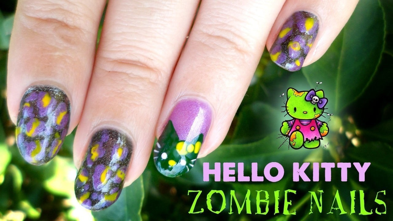 Hello Kitty Zombie Nails ♡ · How To Paint A Character Nail ...