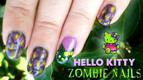 Do you love Hello Kitty and Halloween? Then this tutorial is perfect for you! .  Free tutorial with pictures on how to paint a character nail in under 35 minutes using base coat, nail polish, and acrylic paint. Inspired by halloween. How To posted by Jennifer R.  in the Beauty section Difficulty: Simple. Cost: Cheap. Steps: 1