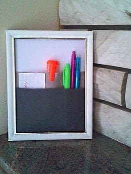 A frame with pockets to organize your most used materials. .  Free tutorial with pictures on how to make wall decor in under 15 minutes by decorating with felt, hot glue, and frame. How To posted by Skay B.  in the Home + DIY section Difficulty: Easy. Cost: Cheap. Steps: 4