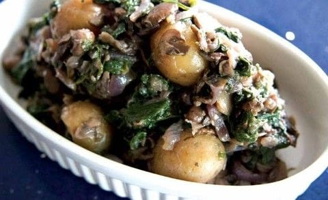 The Social Bite Cookbook .  Free tutorial with pictures on how to cook a potato salad in under 25 minutes by cooking with red onion, chestnut mushrooms, and spinach. Recipe posted by Freight Books.  in the Recipes section Difficulty: Simple. Cost: Cheap. Steps: 4