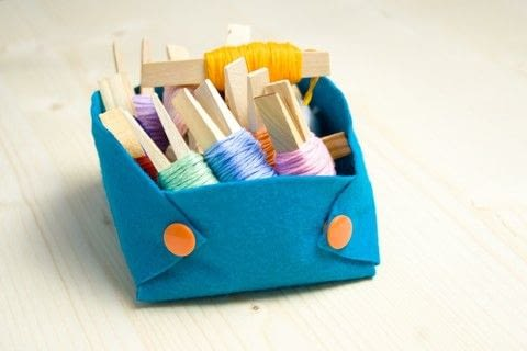 Basket felt, no-sew, easy storage, space saver, kamsnaps,  .  Free tutorial with pictures on how to sew a fabric basket in under 10 minutes by not sewing with scissors, pen, and awl. How To posted by Kathie.  in the Home + DIY section Difficulty: Easy. Cost: Cheap. Steps: 5