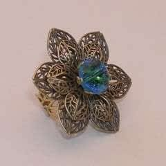 Vintage Button Filigree Ring
