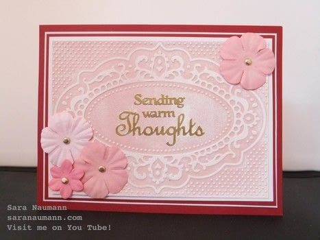 Soft, subtle color and rich texture give this simple card layout a touch of elegance. .  Free tutorial with pictures on how to emboss an embossed card in under 60 minutes by papercrafting and cardmaking How To posted by Sara N.  in the Papercraft section Difficulty: Simple. Cost: 3/5. Steps: 5