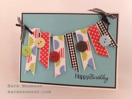 Stylish washi tape bunting makes a fun, colorful card embellishment! .  Free tutorial with pictures on how to make bunting in under 60 minutes by papercrafting and cardmaking How To posted by Sara N.  in the Papercraft section Difficulty: Simple. Cost: 3/5. Steps: 5