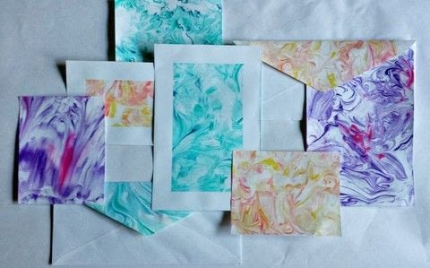 Shaving cream is not just for shaving!  Learn how to make marbled paper using shaving cream. .  Free tutorial with pictures on how to use a printing techniques in under 30 minutes by decorating with ruler, shaving cream, and envelope. How To posted by destinationdecoration.  in the Papercraft section Difficulty: Easy. Cost: Cheap. Steps: 9