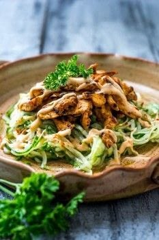 Cucumber Noodle Salad with BBQ Chicken - delicious cucumber noodles topped with perfectly seared BBQ chicken and a BBQ yoghurt drizzle. .  Free tutorial with pictures on how to cook a cucumber salad in under 16 minutes by cooking with cucumber, chicken breast, and bbq sauce. Recipe posted by Shay S.  in the Recipes section Difficulty: Simple. Cost: Cheap. Steps: 5