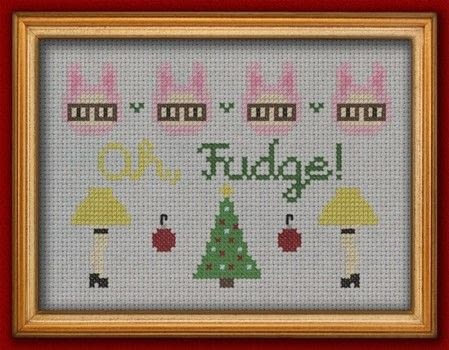 Oh, Fudge! .  Free tutorial with pictures on how to cross stitch  in 2 steps by cross stitching and needlepointing with aida cloth, embroidery needle, and dmc floss. Inspired by christmas. How To posted by SSaunders.  in the Needlework section Difficulty: 3/5. Cost: Absolutley free.