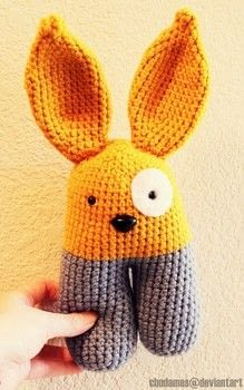 A Hoppin' Baby Toy .  Make rabbit plushie in under 180 minutes by yarncrafting, crocheting, and amigurumi with safety eyes, safety nose, and worsted yarn. Creation posted by Chudames.  in the Yarncraft section Difficulty: 3/5. Cost: Cheap.