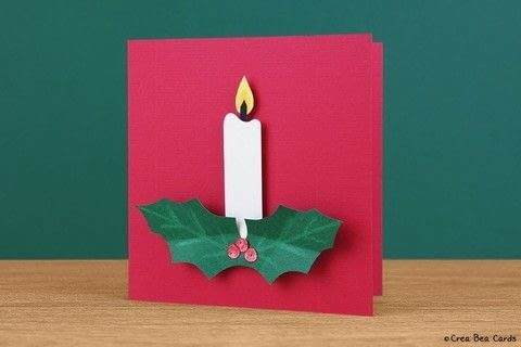 Create this Christmas candle card within 10 minutes .  Free tutorial with pictures on how to make a 3D greetings card in under 10 minutes by papercrafting and cardmaking with art, cutting mat, and pencil. Inspired by christmas. How To posted by Crea Bea Cards.  in the Papercraft section Difficulty: Simple. Cost: Cheap. Steps: 1