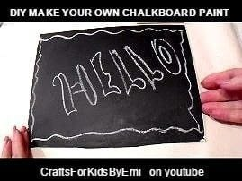 How to make chalkboard paint, and chalkboards .  Free tutorial with pictures on how to make your own paint in under 10 minutes by decorating with paint, white glue, and paint brush. How To posted by Emi H.  in the Other section Difficulty: Easy. Cost: No cost. Steps: 2