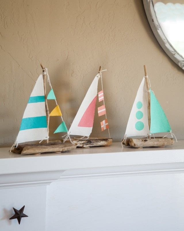 Driftwood and drill sailboats extract from coastal for How to make driftwood crafts
