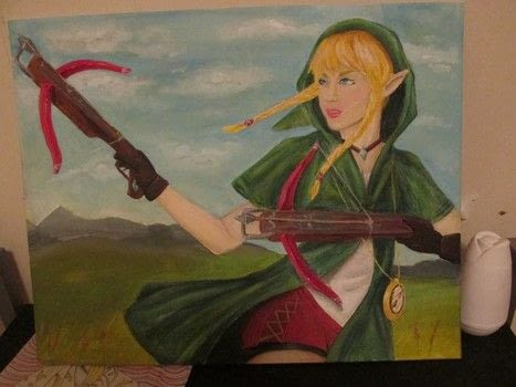 The character we've all been waiting for! .  Create a portrait using canvas and acrylic paint. Inspired by legend of zelda and acrylic paint. Creation posted by Dead4CEREALZ.  in the Art section Difficulty: 3/5. Cost: 3/5.