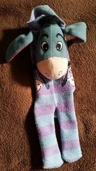 Sock, monkey, eeyore .  Make a toy in under 120 minutes using socks, toy stuffing , and needle and thread. Inspired by disney. Creation posted by jenny y.  in the Other section Difficulty: Simple. Cost: No cost.