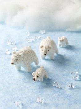 Mini Knitted Safari .  Free tutorial with pictures on how to make a polar bear plushie in under 180 minutes by knitting with yarn and stuffing. Inspired by bears. How To posted by Search Press.  in the Yarncraft section Difficulty: 3/5. Cost: Cheap. Steps: 3