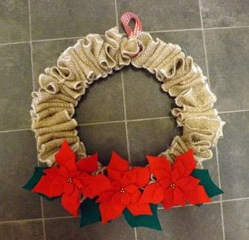 Recycled Wreath .  Free tutorial with pictures on how to make a fabric wreath in under 120 minutes by machine sewing with coat hanger, felt, and sack. Inspired by christmas. How To posted by PixieFey.  in the Sewing section Difficulty: Easy. Cost: Absolutley free. Steps: 2