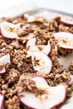 Easy, healthier granola! .  Free tutorial with pictures on how to bake granola in under 45 minutes by cooking with oats, walnuts, and pepitas. Inspired by vegan, apples, and cinnamon. Recipe posted by Tessa F.  in the Recipes section Difficulty: Easy. Cost: Cheap. Steps: 6