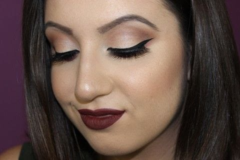 This is a very easy to accomplish and super wearable look that anyone can rock that is perfect for this time of year! You can substitute the dark lip for a nude if it is too bold, or wear the vampy look for a more bold glam approach!  Have fun! .  Free tutorial with pictures on how to create a smokey eye in under 20 minutes by applying makeup with foundation makeup, concealer, and setting powder. Inspired by christmas. How To posted by Nicole N.  in the Beauty section Difficulty: Simple. Cost: No cost. Steps: 1