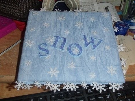 Perfect for a holiday gift with or without photos! .  Make a fabric book cover in under 30 minutes by decorating, embellishing, and not sewing with fabric, felt, and trim. Creation posted by Pammie.  in the Other section Difficulty: Easy. Cost: Cheap.