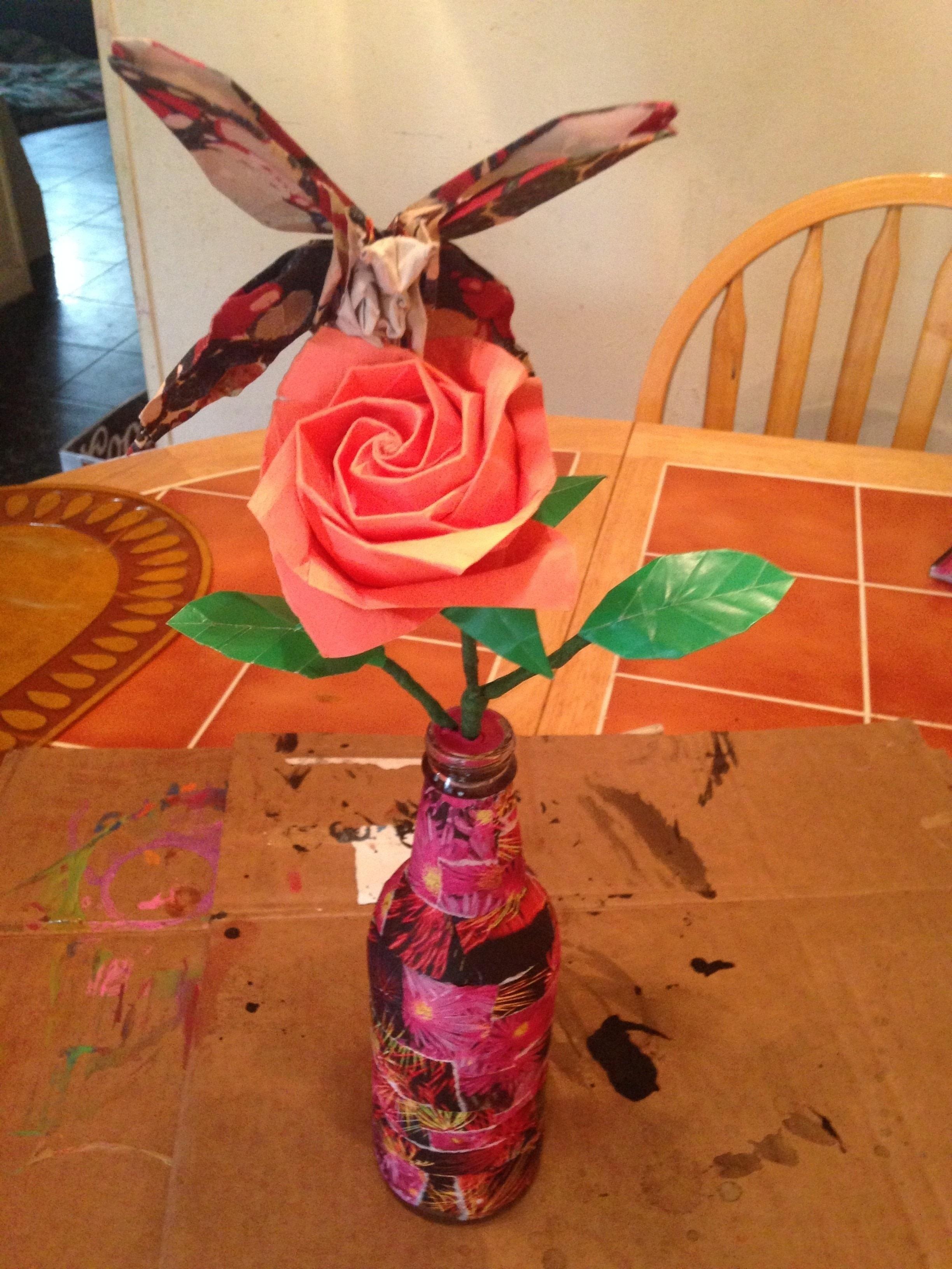 Origami Butterfly Resting On Kawasaki Rose In A Decoupage Bottle