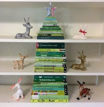 Stack your green books into a Christmas tree .  Make a christmas tree in under 60 minutes using books. Inspired by christmas and books. Creation posted by PlaidCrafter.  in the Decorating section Difficulty: Simple. Cost: No cost.