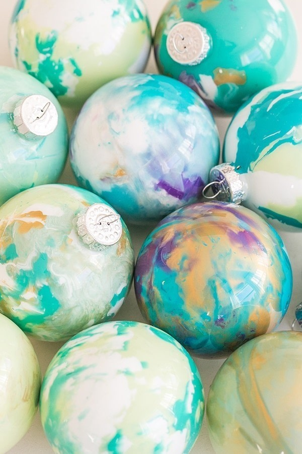 Diy Marbled Ornaments 183 How To Make A Mixed Media