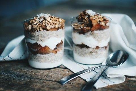 A breakfast to get excited about! .  Free tutorial with pictures on how to make a parfait in under 15 minutes by cooking with oats, chia seeds, and almond milk. Recipe posted by Emily H.  in the Recipes section Difficulty: Easy. Cost: Absolutley free. Steps: 4