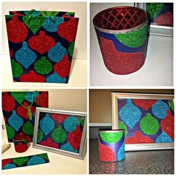 Reused Christmas gift bags .  Make a votive / candle holder in under 20 minutes by papercrafting with gift bag, glue gun, and candle holder. Creation posted by Starr D.  in the Papercraft section Difficulty: Simple. Cost: Absolutley free.