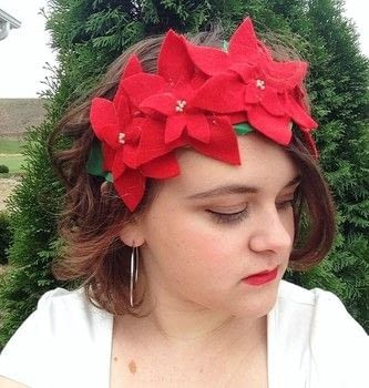 Become a winter queen with this Poinsettia crown! .  Free tutorial with pictures on how to make a tiara / crown in under 30 minutes using felt, felt, and needle and thread. Inspired by christmas, flowers, and clothes & accessories. How To posted by Cheryl .  in the Home + DIY section Difficulty: Easy. Cost: Absolutley free. Steps: 1