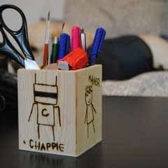 Woodburned Chappie Pen And Pencil Holder