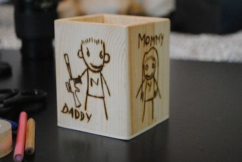 Beautiful gift for a Chappie lover .  Free tutorial with pictures on how to make a wood burned box in under 60 minutes by decorating, transfering, and woodworking with holder, woodburning tool, and printer paper. Inspired by christmas, robots, and sci fi. How To posted by Lea Bee.  in the Home + DIY section Difficulty: Easy. Cost: Absolutley free. Steps: 2