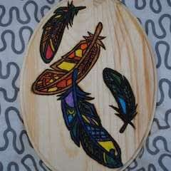 Falling Feathers Woodburned Plate