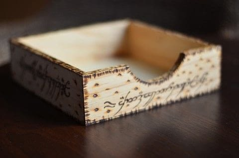 One Ring to rule them all, One Ring to find them.. .  Make a wood burned box using crate, printer paper, and pattern. Inspired by lord of the rings. Creation posted by Lea Bee.  in the Home + DIY section Difficulty: Simple. Cost: Cheap.
