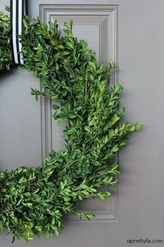 Make a fresh and beautiful boxwood wreath .  Free tutorial with pictures on how to make a branch & twig wreath in under 30 minutes by decorating with wreath, branches, and shears. How To posted by aprettyfix.  in the Decorating section Difficulty: Easy. Cost: Cheap. Steps: 6