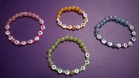 Best Friend Forever Bracelet  .  Free tutorial with pictures on how to make a beaded bracelet in under 10 minutes by beading with beads, elastic, and alphabet beads. How To posted by Super Madcow.  in the Jewelry section Difficulty: Easy. Cost: Absolutley free. Steps: 3