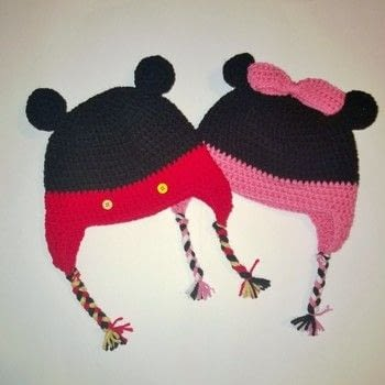 Mickey and Minnie earflap hats .  Make a baby hat in under 120 minutes using yarn, crochet hook, and  buttons. Inspired by disney. Creation posted by Carol S.  in the Yarncraft section Difficulty: Easy. Cost: Cheap.