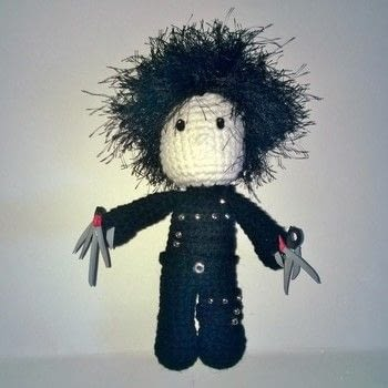 Edward Scissorhands .  Sew a movie plushie in under 180 minutes using yarn, crochet hook, and polymer clay. Creation posted by Carol S.  in the Yarncraft section Difficulty: 3/5. Cost: 3/5.